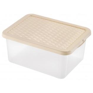 Інтригобокс Ящик пластиковий з кришкою під ліжко 13л, 38*28,5*16см (4627_бежевый)