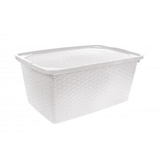 Інтригобокс Ящик пластиковий з кришкою не прозорий 20л, 43*32*22см (4511_белый)