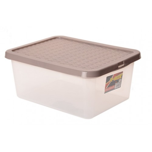 Інтригобокс Ящик пластиковий з кришкою під ліжко 13л, 38*28,5*16см (4627_коричневый)