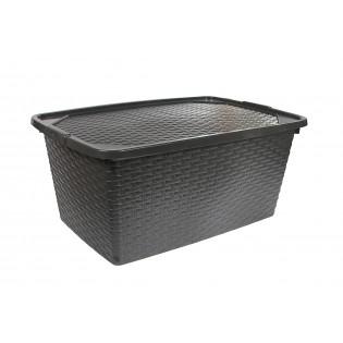 Інтригобокс Ящик пластиковий з кришкою не прозорий 40л, 59*39*26см (4512_черный)