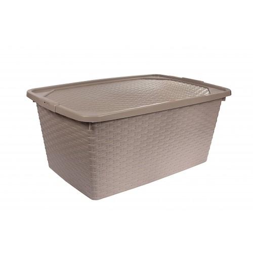 Інтригобокс Ящик пластиковий з кришкою не прозорий 10л, 33*23*16см (4510_коричневый)