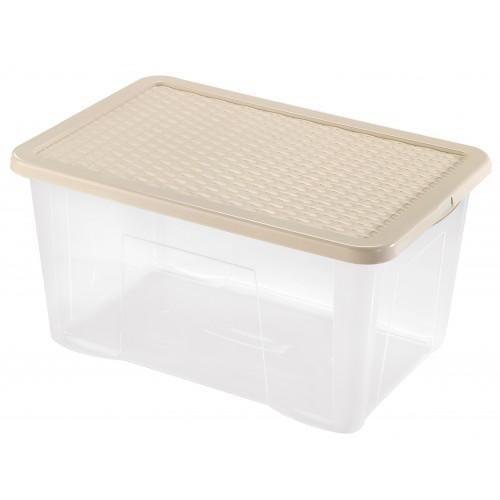 Інтригобокс Ящик пластиковий з кришкою 60л, 60*40*30см (4625_бежевый)